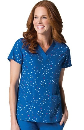 Maevn Uniforms Women's V-Neck Heart Print Scrub Top