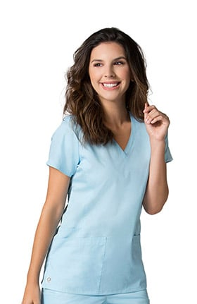 EON Women's COOLMAX V-Neck Mesh Panel Solid Scrub Top