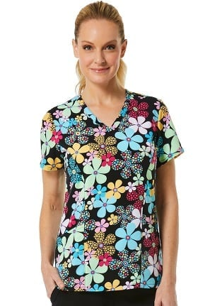 Clearance Maevn Uniforms Women's V-Neck Floral Print Scrub Top