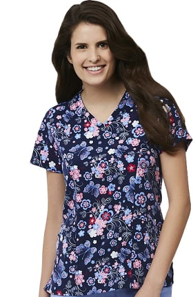Maevn Uniforms Women's V-Neck Butterfly Print Scrub Top