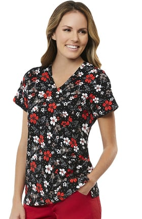 Maevn Uniforms Women's V-Neck Floral Print Scrub Top
