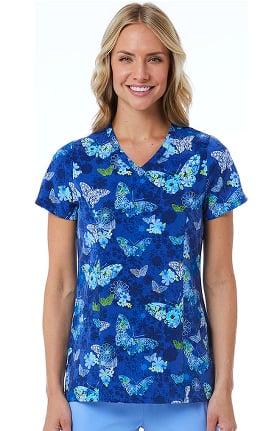 Maevn Uniforms Women's V-Neck Wings In Bloom Print Scrub Top