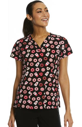Maevn Uniforms Women's Coffee Date Print Scrub Top