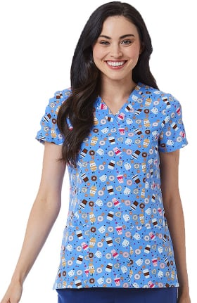 Maevn Uniforms Women's V-Neck Coffee Love Print Scrub Top