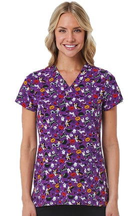 Maevn Uniforms Women's V-Neck Costume Party Print Scrub Top