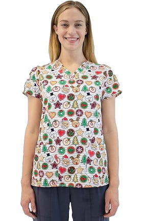 Maevn Uniforms Women's V-Neck Dashing Through Donuts Print Scrub Top