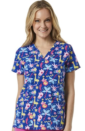 Maevn Uniforms Women's V-Neck Jungle Print Scrub Top