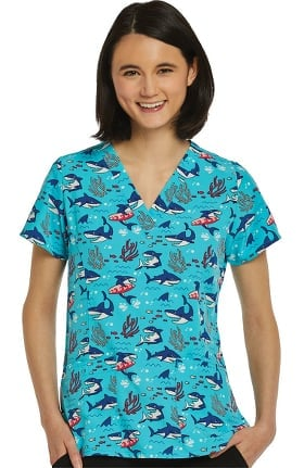 Maevn Uniforms Women's Shark A Doo Print Scrub Top