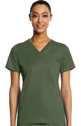 EON Women's Sporty V-Neck Solid Scrub Top