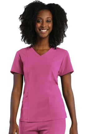 Pure Soft Women's Curved V-Neck Solid Scrub Top