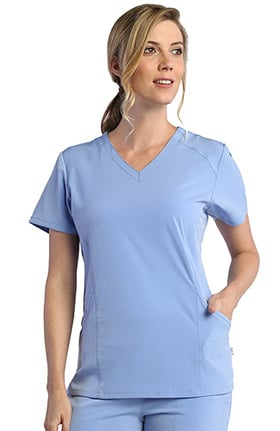 Pure Soft Women's V-Neck Mesh Side Solid Scrub Top