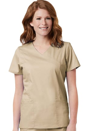 Clearance Blossom by Maevn Women's Signature Mock Wrap Solid Scrub Top