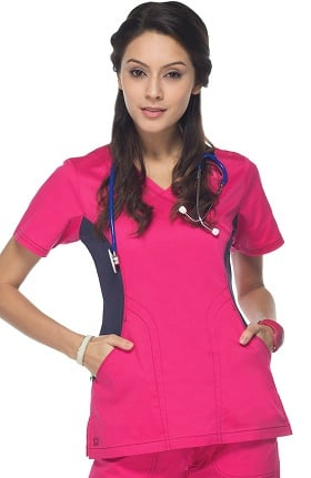 Clearance Empress by Maevn Women's Y Neck Knit Accent Solid Scrub Top