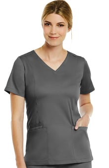 Matrix by Maevn Women's Double V-Neck Solid Scrub Top
