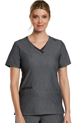 Matrix by Maevn Women's Contrast Double V-Neck Solid Scrub Top