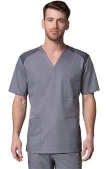 EON Men's COOLMAX V-Neck Mesh Panel Solid Scrub Top