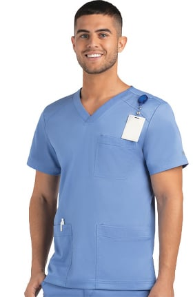 Matrix by Maevn Men's Basic Multi-Pocket Solid Scrub Top