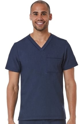 Matrix by Maevn Men's Contrast Piping V-Neck Solid Scrub Top