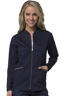 PrimaFlex by Maevn Women's Zip Front Warm-Up Solid Scrub Jacket