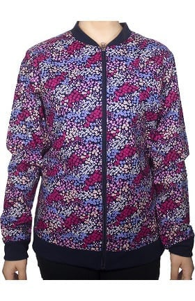 Clearance Maevn Uniforms Women's Zip Front Floral Print Scrub Jacket