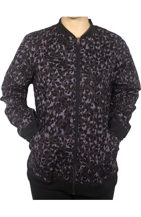 Maevn Uniforms Women's Zip Front Animal Print Scrub Jacket