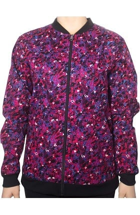 Clearance Maevn Uniforms Women's Zip Front Abstract Print Scrub Jacket