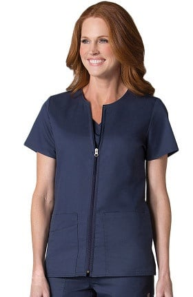 EON Women's COOLMAX Short Sleeve Zip Front Solid Scrub Jacket