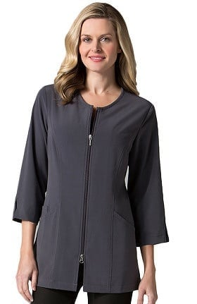 Pure Soft Women's Round Neck ¾ Sleeve Lab Coat Jacket