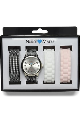 Nurse Mates Women's Interchangeable 4-Strap Watch Set