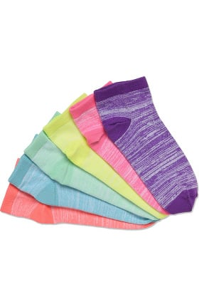 Nurse Mates Women's Softee Ankle Sock Multicolor 6 Pack