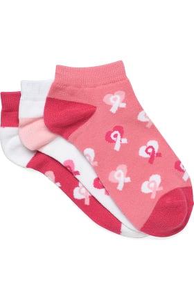 Nurse Mates Women's Pink Ribbon Ankle Socks 3 Pack