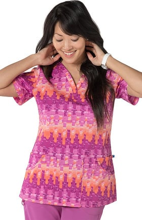 Nurse Mates Women's Henley Neck Abstract Print Scrub Top