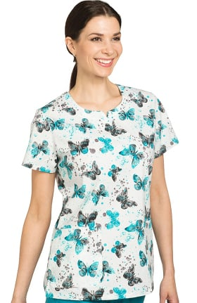 Nurse Mates Women's Kendal Slit V-Neck Butterfly Print Scrub Top