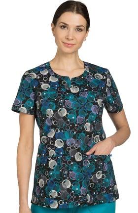Nurse Mates Women's Katrina Slit V-Neck Geometric Print Scrub Top