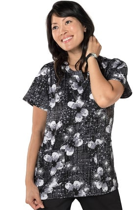 Nurse Mates Women's Notch Neck Butterfly Print Scrub Top