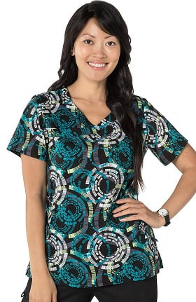 Nurse Mates Women's Olivia Y-Neck Geometric Print Scrub Top