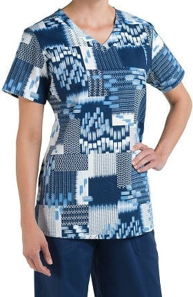 Nurse Mates Women's Beth V-Neck Geometric Print Scrub Top