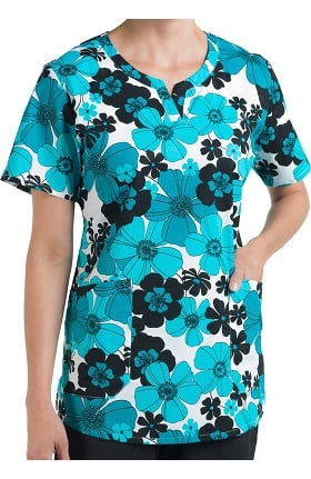 Clearance Nurse Mates Women's Blair Notched Neck Floral Print Scrub Top