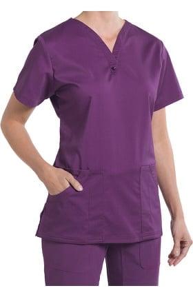 Clearance Nurse Mates Women's Caitlyn Solid Henley Scrub Top
