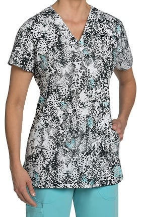Clearance Nurse Mates Women's Hannah Mock Wrap Butterfly Print Scrub Top
