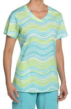 Clearance Nurse Mates Women's Haven V-Neck Stripe Print Scrub Top