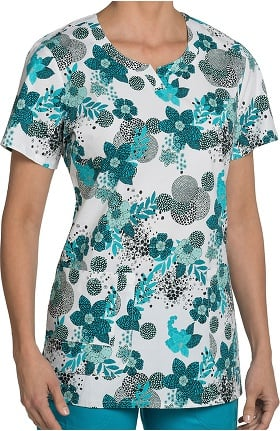Clearance Nurse Mates Women's Hayden Notch Neck Floral Print Scrub Top