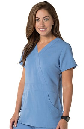 Nurse Mates Women's Lauren Mock Wrap Solid Scrub Top