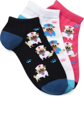 Nurse Mates Women's Puppy Print Ankle Sock Pack of 3