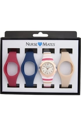 Nurse Mates Women's Kate Stripe Unibody Watch Gift Set