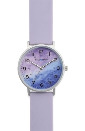 Nurse Mates Women's Violet Water Color Print Silicone Watch