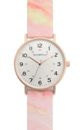 Nurse Mates Women's Rose Gold Marble Print Silicone Watch