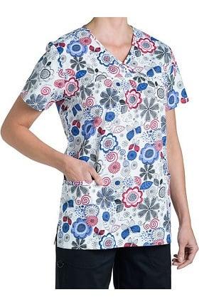 Clearance Nurse Mates Women's Natalie Babydoll Floral Print Scrub Top