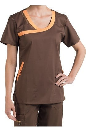 Clearance Nurse Mates Women's Olivia Y-Neck Solid Scrub Top