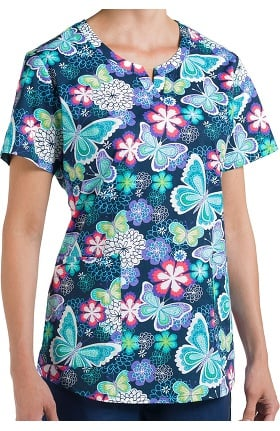 Clearance Nurse Mates Women's Penny Notched Neck Butterfly Print Scrub Top